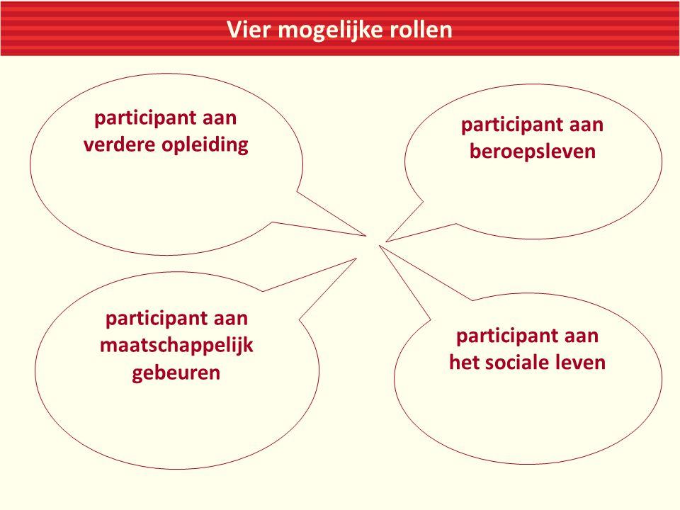 Vier mogelijke rollen participant aan maatschappelijk gebeuren participant aan beroepsleven participant aan het sociale leven participant aan verdere