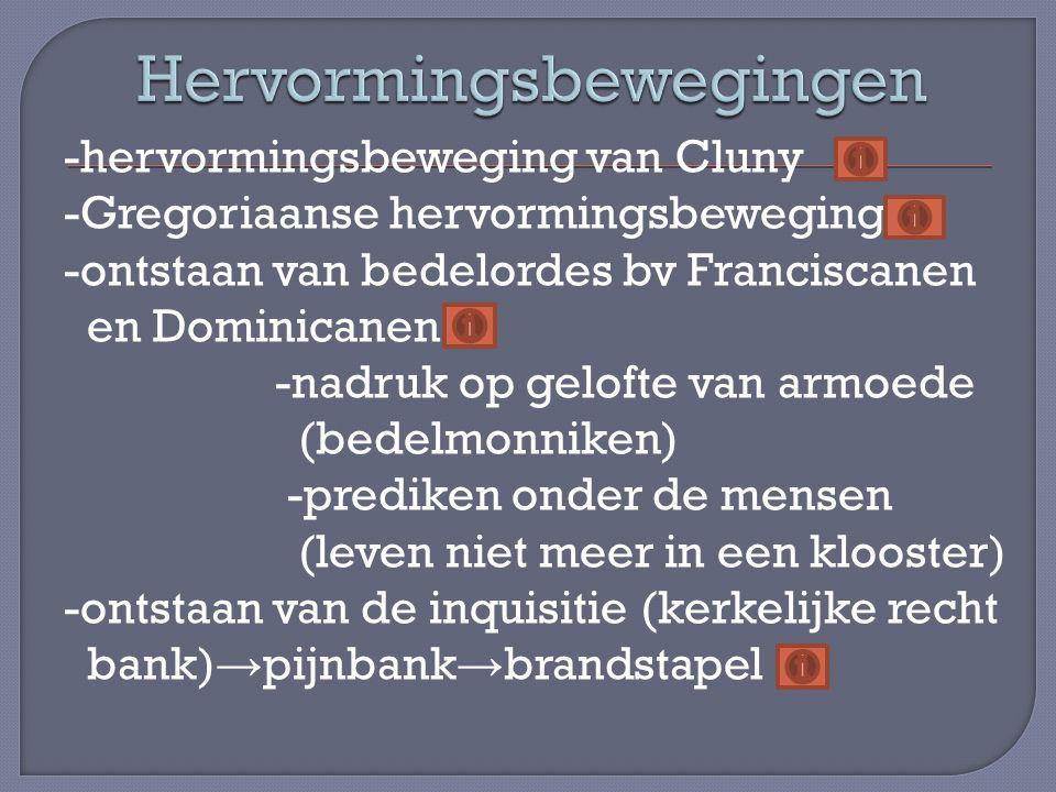 -hervormingsbeweging van Cluny -Gregoriaanse hervormingsbeweging -ontstaan van bedelordes bv Franciscanen en Dominicanen -nadruk op gelofte van armoed