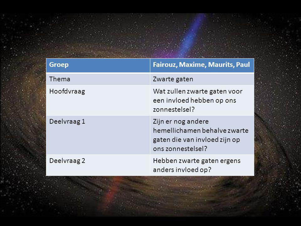 GroepFairouz, Maxime, Maurits, Paul ThemaZwarte gaten HoofdvraagWat zullen zwarte gaten voor een invloed hebben op ons zonnestelsel? Deelvraag 1Zijn e