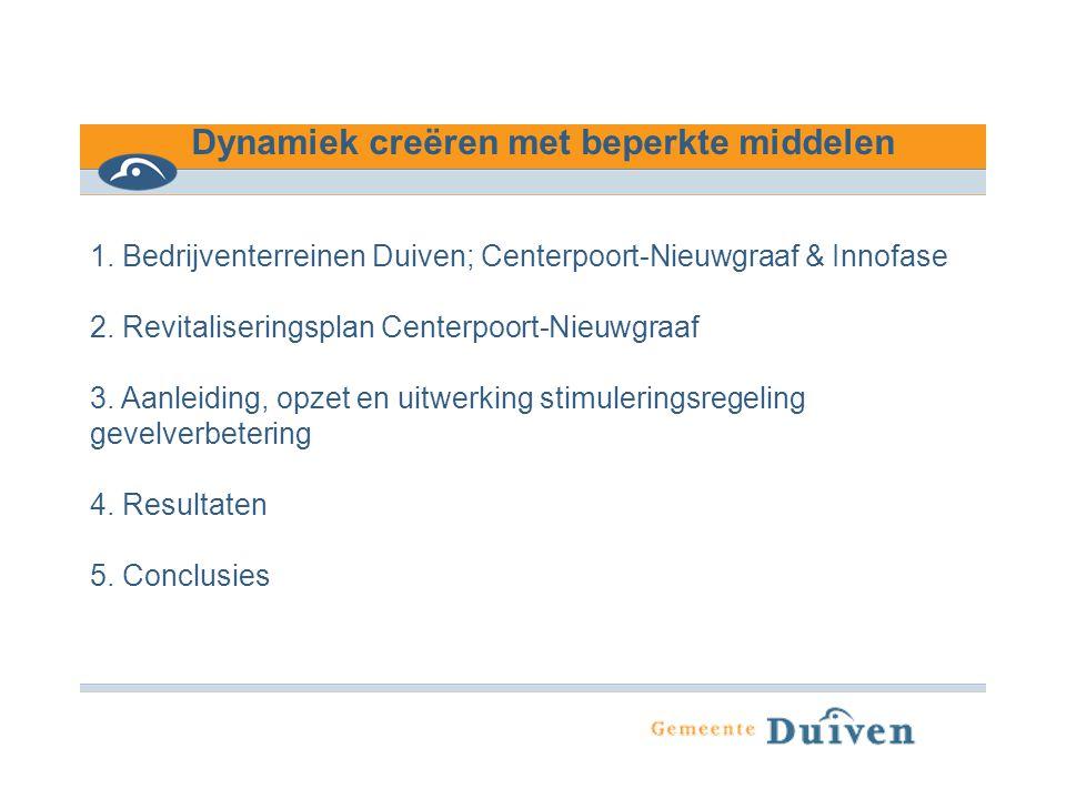 Dynamiek creëren met beperkte middelen 1. Bedrijventerreinen Duiven; Centerpoort-Nieuwgraaf & Innofase 2. Revitaliseringsplan Centerpoort-Nieuwgraaf 3