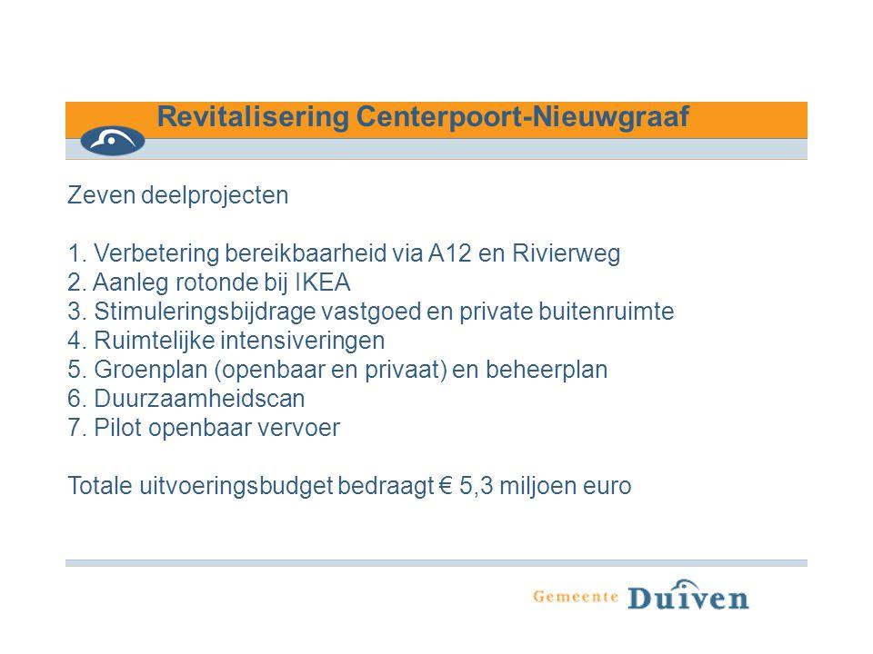 Revitalisering Centerpoort-Nieuwgraaf Zeven deelprojecten 1. Verbetering bereikbaarheid via A12 en Rivierweg 2. Aanleg rotonde bij IKEA 3. Stimulering