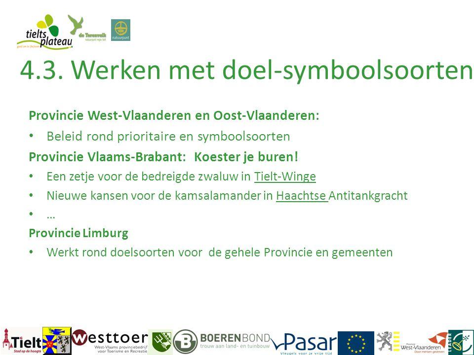 Provincie West-Vlaanderen en Oost-Vlaanderen: • Beleid rond prioritaire en symboolsoorten Provincie Vlaams-Brabant: Koester je buren! • Een zetje voor