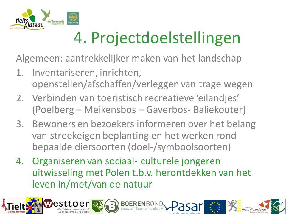 4. Projectdoelstellingen Algemeen: aantrekkelijker maken van het landschap 1.Inventariseren, inrichten, openstellen/afschaffen/verleggen van trage weg