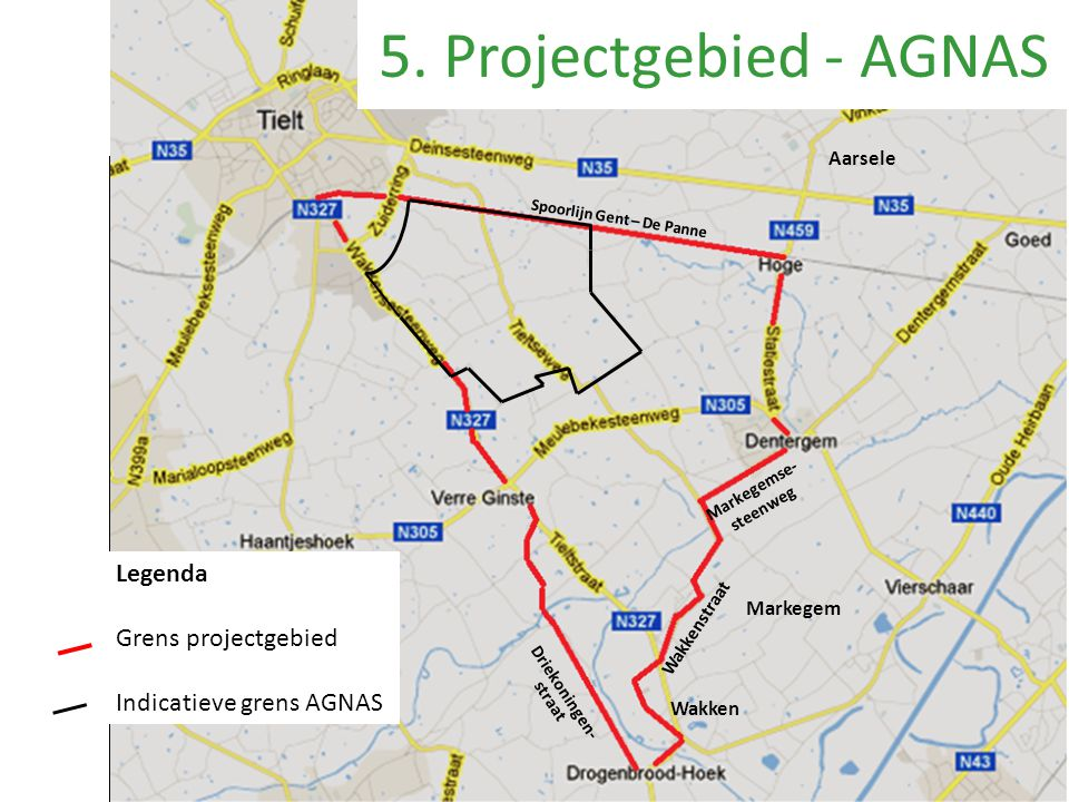 Aarsele Wakken Wakkenstraat 5. Projectgebied - AGNAS Markegem Markegemse- steenweg Driekoningen- straat Spoorlijn Gent – De Panne Legenda Grens projec