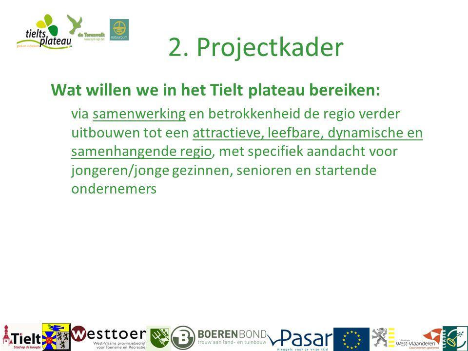 2. Projectkader Wat willen we in het Tielt plateau bereiken: via samenwerking en betrokkenheid de regio verder uitbouwen tot een attractieve, leefbare