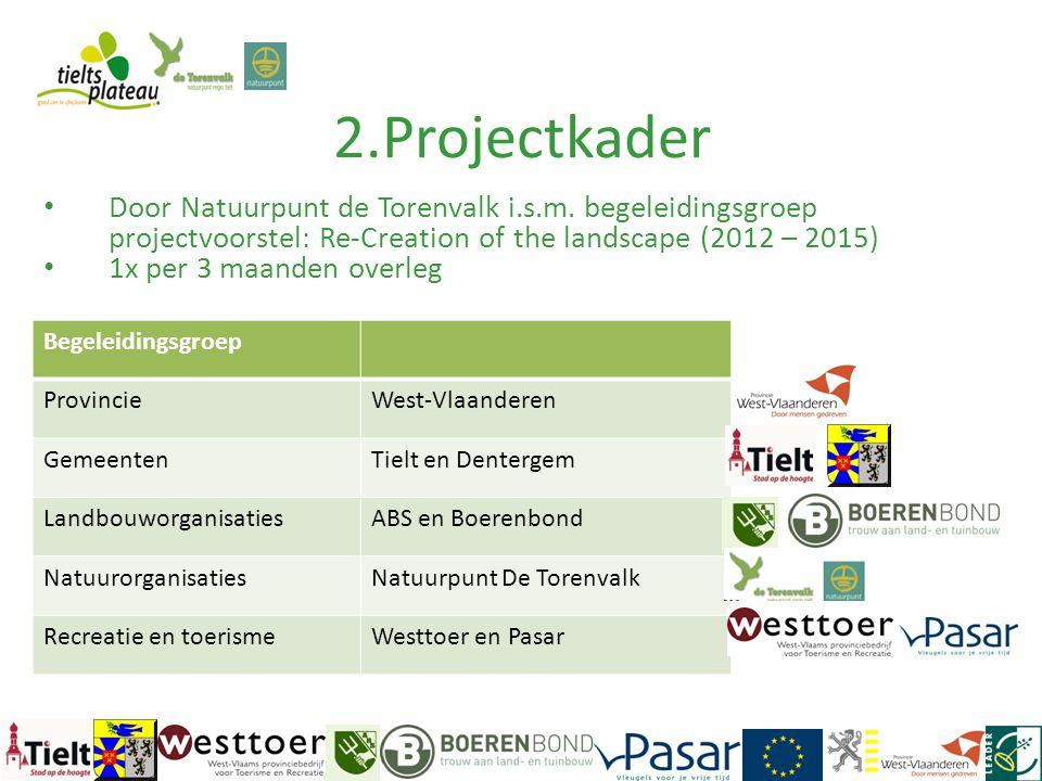 2.Projectkader Begeleidingsgroep ProvincieWest-Vlaanderen GemeentenTielt en Dentergem LandbouworganisatiesABS en Boerenbond NatuurorganisatiesNatuurpu