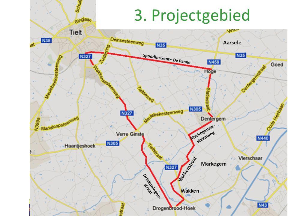 Aarsele Wakken Wakkenstraat 3. Projectgebied Markegem Markegemse- steenweg Driekoningen- straat Spoorlijn Gent – De Panne