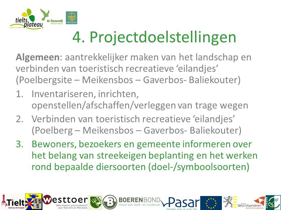 4. Projectdoelstellingen Algemeen: aantrekkelijker maken van het landschap en verbinden van toeristisch recreatieve 'eilandjes' (Poelbergsite – Meiken