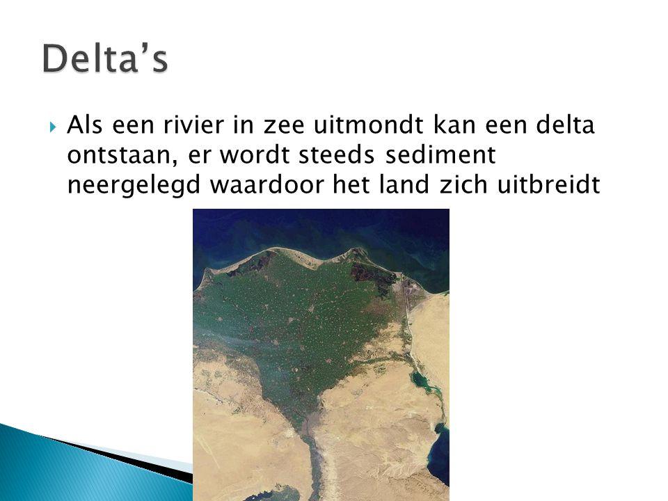  Als een rivier in zee uitmondt kan een delta ontstaan, er wordt steeds sediment neergelegd waardoor het land zich uitbreidt