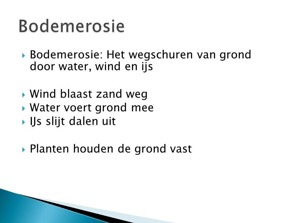  Bodemerosie: Het wegschuren van grond door water, wind en ijs  Wind blaast zand weg  Water voert grond mee  IJs slijt dalen uit  Planten houden