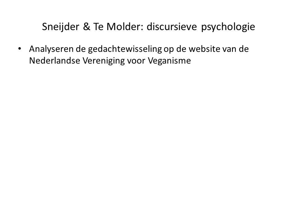 Sneijder & Te Molder: discursieve psychologie • Analyseren de gedachtewisseling op de website van de Nederlandse Vereniging voor Veganisme