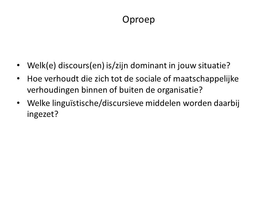 Oproep • Welk(e) discours(en) is/zijn dominant in jouw situatie? • Hoe verhoudt die zich tot de sociale of maatschappelijke verhoudingen binnen of bui
