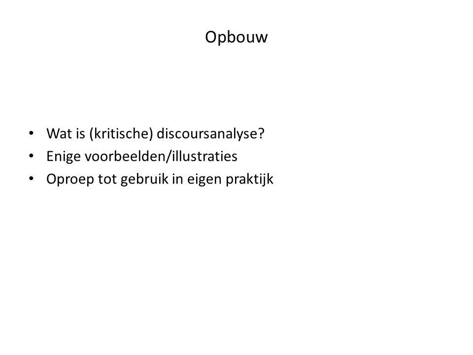 Opbouw • Wat is (kritische) discoursanalyse? • Enige voorbeelden/illustraties • Oproep tot gebruik in eigen praktijk