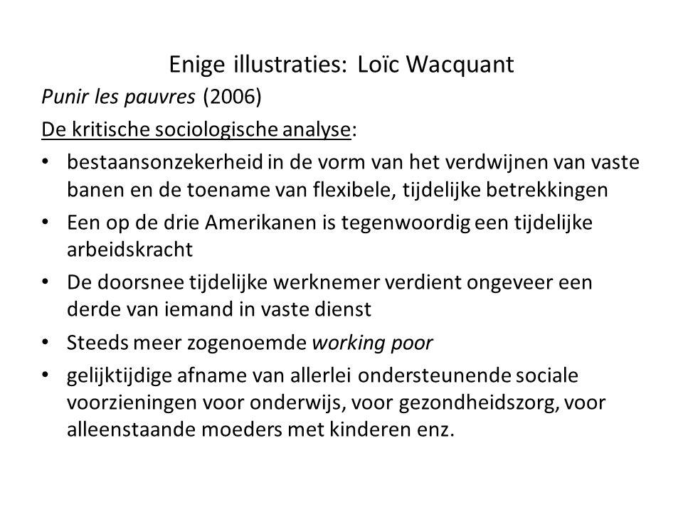 Enige illustraties: Loïc Wacquant Punir les pauvres (2006) De kritische sociologische analyse: • bestaansonzekerheid in de vorm van het verdwijnen van
