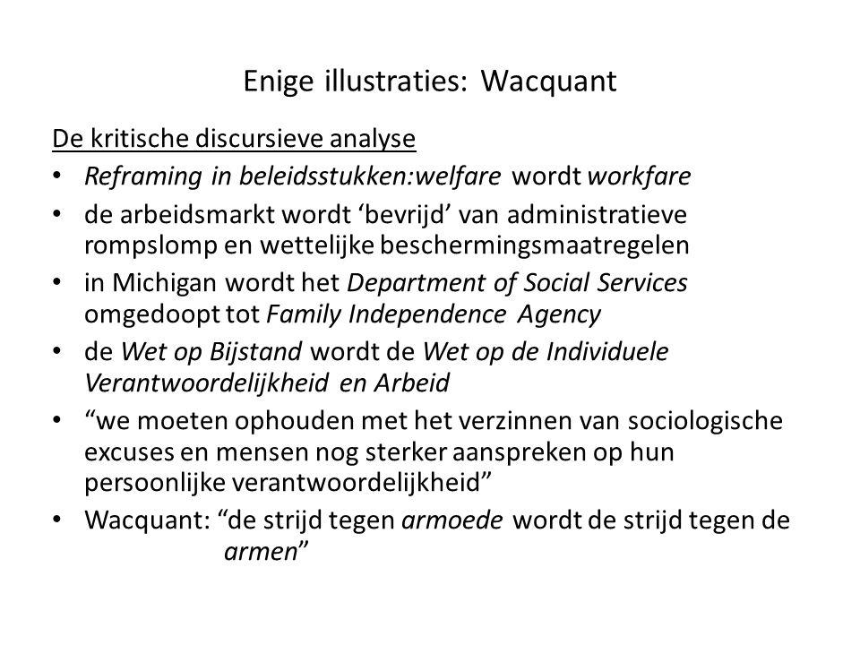 Enige illustraties: Wacquant De kritische discursieve analyse • Reframing in beleidsstukken:welfare wordt workfare • de arbeidsmarkt wordt 'bevrijd' v