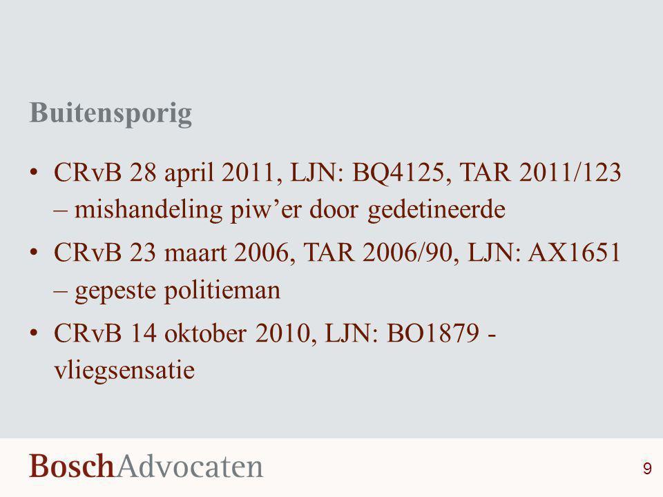 Buitensporig • CRvB 28 april 2011, LJN: BQ4125, TAR 2011/123 – mishandeling piw'er door gedetineerde • CRvB 23 maart 2006, TAR 2006/90, LJN: AX1651 –