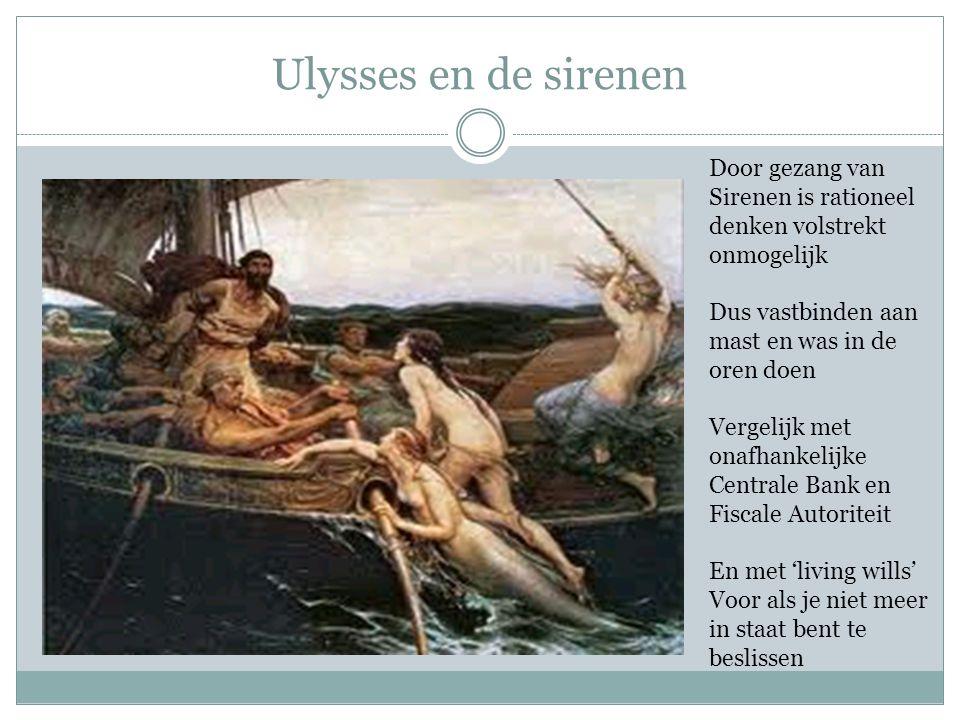 Ulysses en de sirenen Door gezang van Sirenen is rationeel denken volstrekt onmogelijk Dus vastbinden aan mast en was in de oren doen Vergelijk met on
