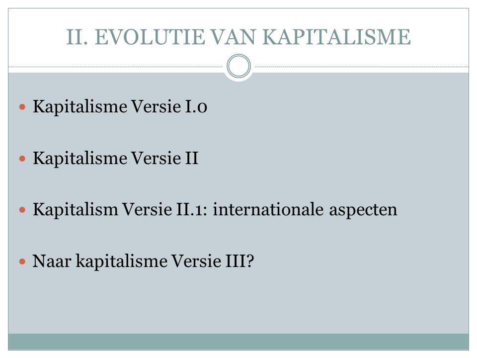 II. EVOLUTIE VAN KAPITALISME  Kapitalisme Versie I.0  Kapitalisme Versie II  Kapitalism Versie II.1: internationale aspecten  Naar kapitalisme Ver