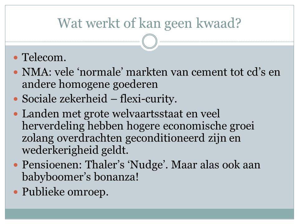  Telecom.  NMA: vele 'normale' markten van cement tot cd's en andere homogene goederen  Sociale zekerheid – flexi-curity.  Landen met grote welvaa