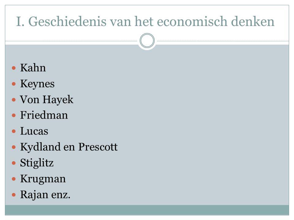 I. Geschiedenis van het economisch denken  Kahn  Keynes  Von Hayek  Friedman  Lucas  Kydland en Prescott  Stiglitz  Krugman  Rajan enz.