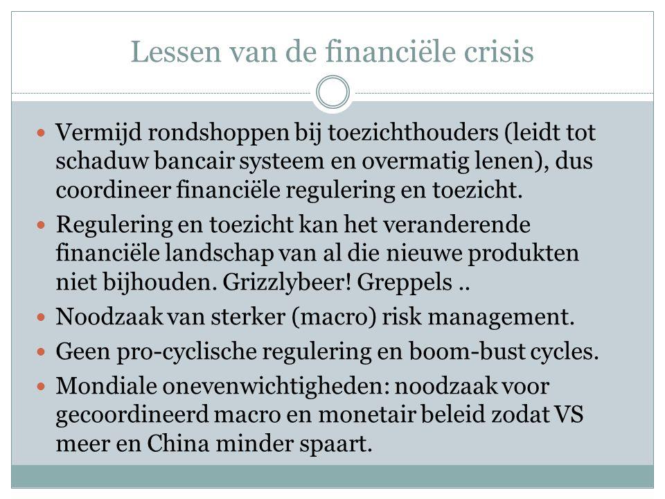 Lessen van de financiële crisis  Vermijd rondshoppen bij toezichthouders (leidt tot schaduw bancair systeem en overmatig lenen), dus coordineer finan