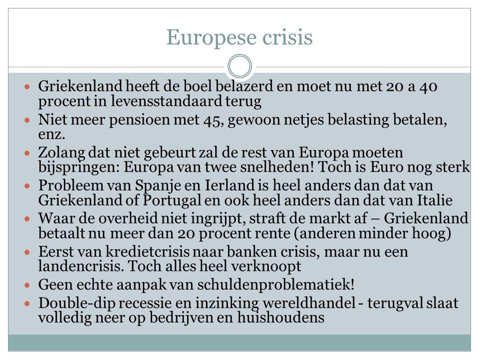 Europese crisis  Griekenland heeft de boel belazerd en moet nu met 20 a 40 procent in levensstandaard terug  Niet meer pensioen met 45, gewoon netje