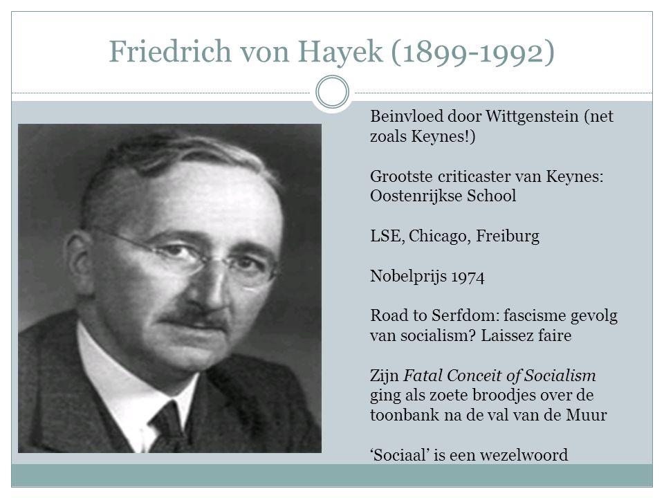 Friedrich von Hayek (1899-1992) Beinvloed door Wittgenstein (net zoals Keynes!) Grootste criticaster van Keynes: Oostenrijkse School LSE, Chicago, Fre