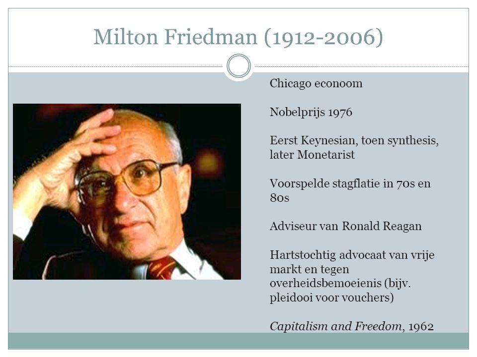 Milton Friedman (1912-2006) Chicago econoom Nobelprijs 1976 Eerst Keynesian, toen synthesis, later Monetarist Voorspelde stagflatie in 70s en 80s Advi