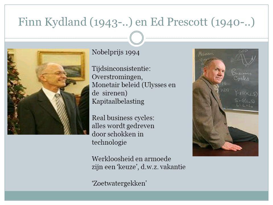 Finn Kydland (1943-..) en Ed Prescott (1940-..) Nobelprijs 1994 Tijdsinconsistentie: Overstromingen, Monetair beleid (Ulysses en de sirenen) Kapitaalb