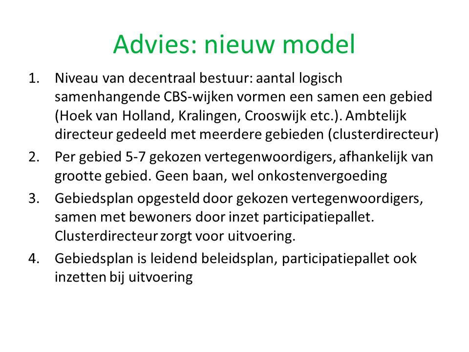 Advies: nieuw model 1.Niveau van decentraal bestuur: aantal logisch samenhangende CBS-wijken vormen een samen een gebied (Hoek van Holland, Kralingen, Crooswijk etc.).
