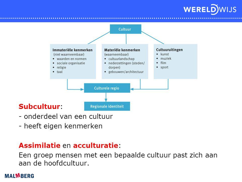 Subcultuur: - onderdeel van een cultuur - heeft eigen kenmerken Assimilatie en acculturatie: Een groep mensen met een bepaalde cultuur past zich aan a
