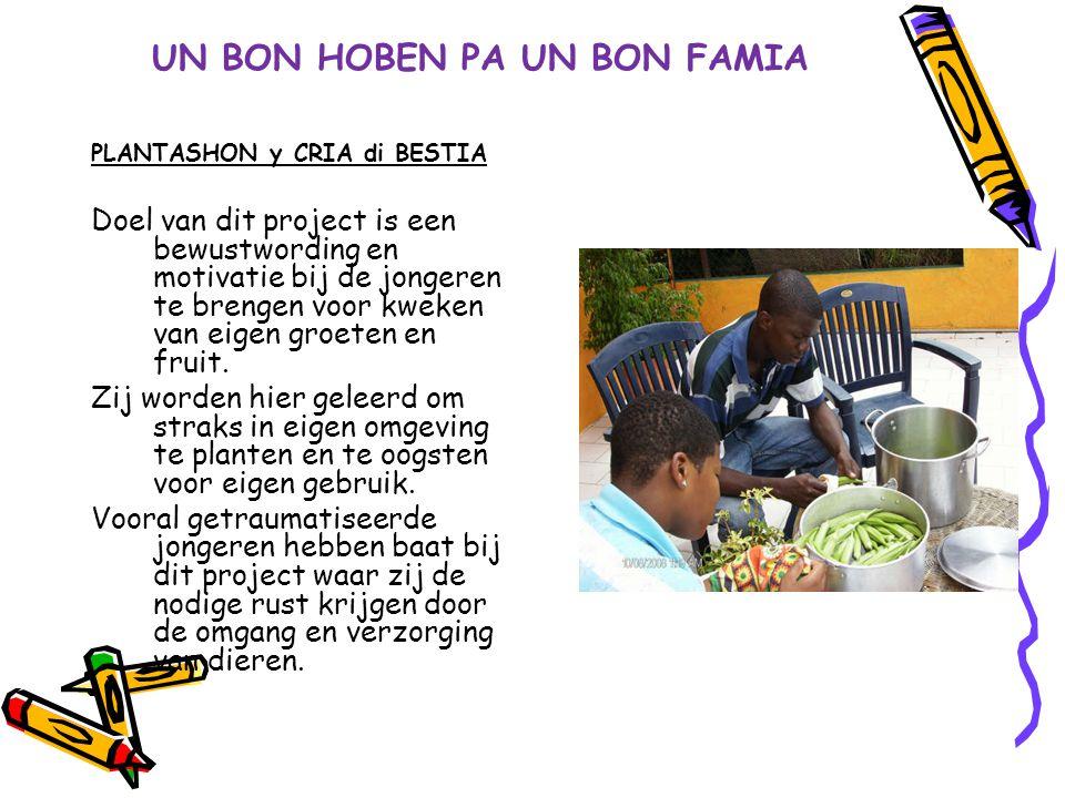 UN BON HOBEN PA UN BON FAMIA PLANTASHON y CRIA di BESTIA Doel van dit project is een bewustwording en motivatie bij de jongeren te brengen voor kweken