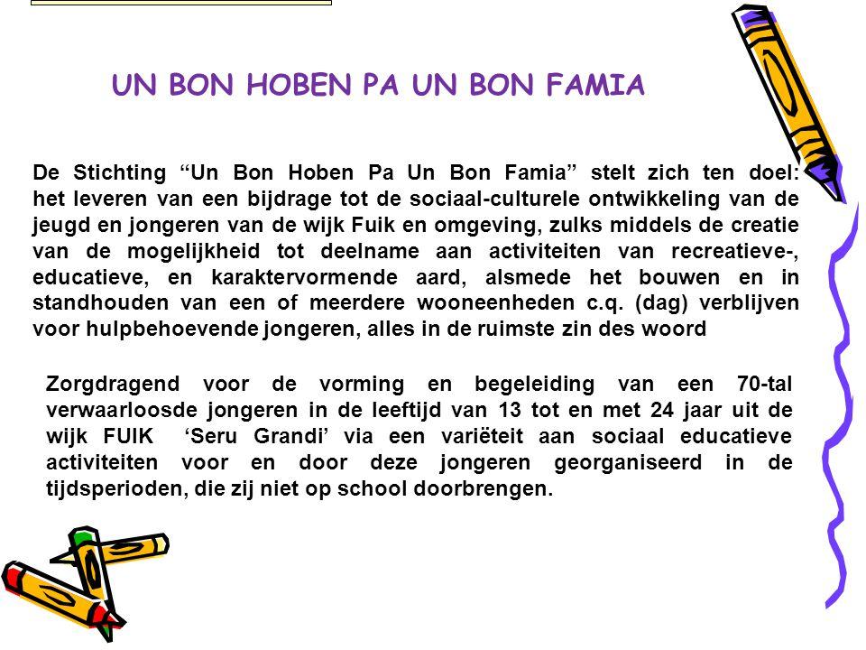 "UN BON HOBEN PA UN BON FAMIA De Stichting ""Un Bon Hoben Pa Un Bon Famia"" stelt zich ten doel: het leveren van een bijdrage tot de sociaal-culturele on"