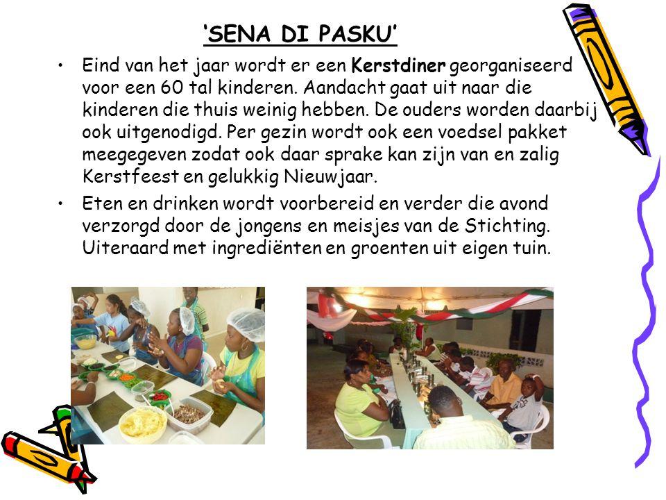 'SENA DI PASKU' •Eind van het jaar wordt er een Kerstdiner georganiseerd voor een 60 tal kinderen. Aandacht gaat uit naar die kinderen die thuis weini