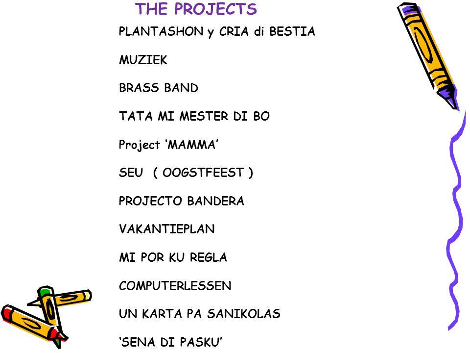 THE PROJECTS PLANTASHON y CRIA di BESTIA MUZIEK BRASS BAND TATA MI MESTER DI BO Project 'MAMMA' SEU ( OOGSTFEEST ) PROJECTO BANDERA VAKANTIEPLAN MI PO