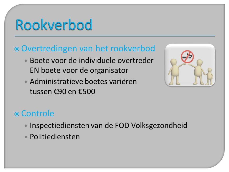  Overtredingen van het rookverbod • Boete voor de individuele overtreder EN boete voor de organisator • Administratieve boetes variëren tussen €90 en