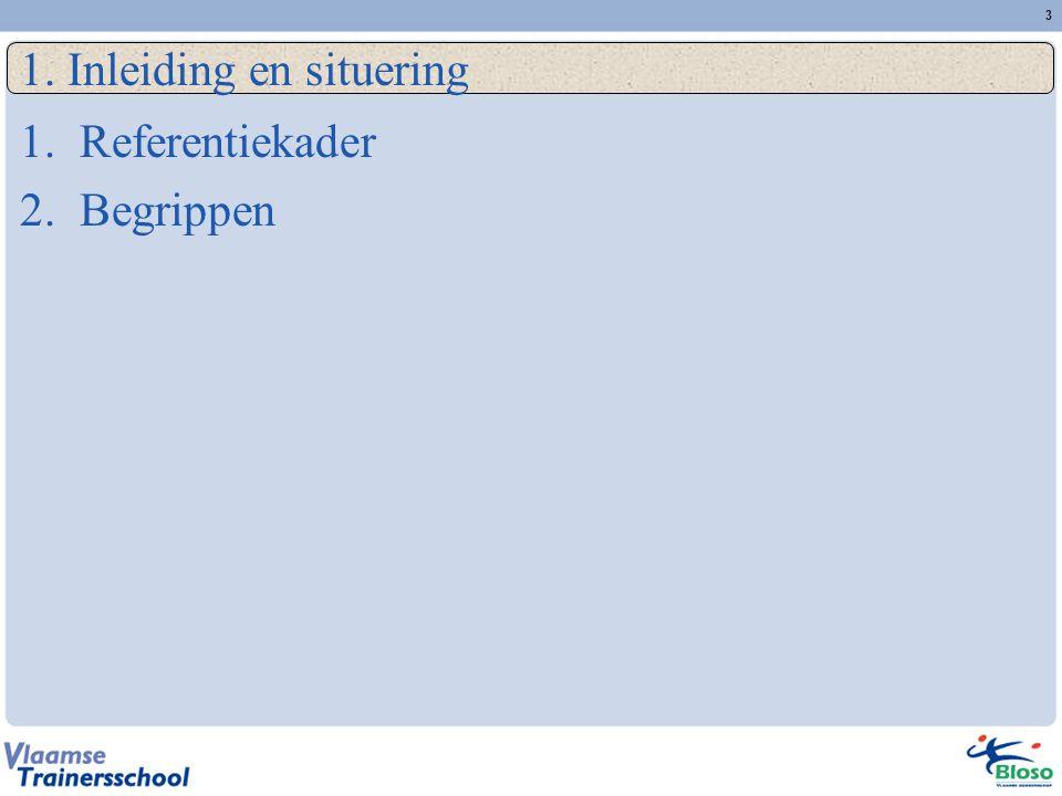3 1. Inleiding en situering 1.Referentiekader 2.Begrippen