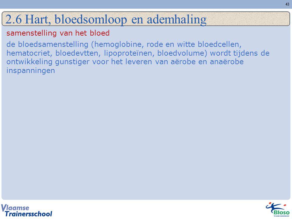 43 2.6 Hart, bloedsomloop en ademhaling samenstelling van het bloed de bloedsamenstelling (hemoglobine, rode en witte bloedcellen, hematocriet, bloedevtten, lipoproteïnen, bloedvolume) wordt tijdens de ontwikkeling gunstiger voor het leveren van aërobe en anaërobe inspanningen