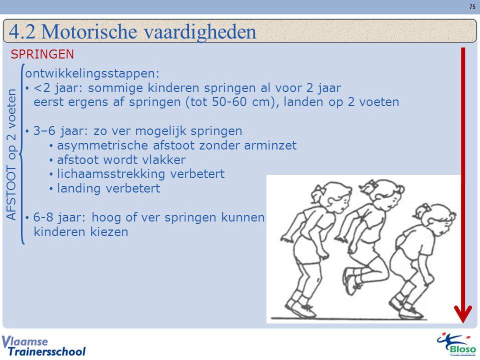 75 4.2 Motorische vaardigheden SPRINGEN ontwikkelingsstappen: • <2 jaar: sommige kinderen springen al voor 2 jaar eerst ergens af springen (tot 50-60 cm), landen op 2 voeten • 3–6 jaar: zo ver mogelijk springen • asymmetrische afstoot zonder arminzet • afstoot wordt vlakker • lichaamsstrekking verbetert • landing verbetert • 6-8 jaar: hoog of ver springen kunnen kinderen kiezen AFSTOOT op 2 voeten