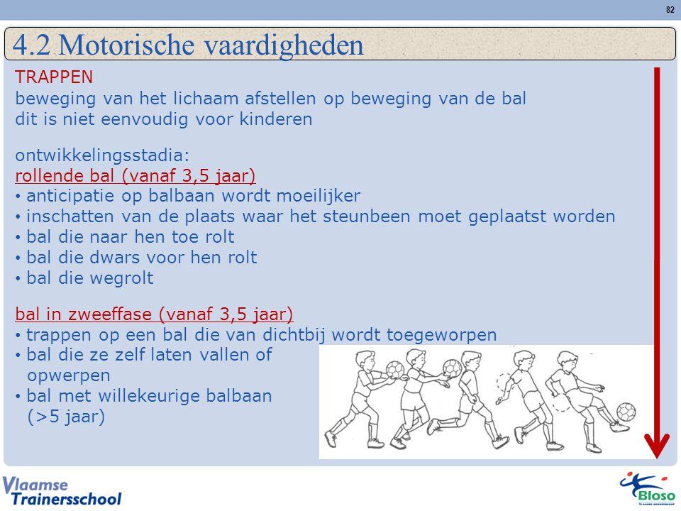 82 4.2 Motorische vaardigheden TRAPPEN beweging van het lichaam afstellen op beweging van de bal dit is niet eenvoudig voor kinderen ontwikkelingsstadia: rollende bal (vanaf 3,5 jaar) • anticipatie op balbaan wordt moeilijker • inschatten van de plaats waar het steunbeen moet geplaatst worden • bal die naar hen toe rolt • bal die dwars voor hen rolt • bal die wegrolt bal in zweeffase (vanaf 3,5 jaar) • trappen op een bal die van dichtbij wordt toegeworpen • bal die ze zelf laten vallen of opwerpen • bal met willekeurige balbaan (>5 jaar)