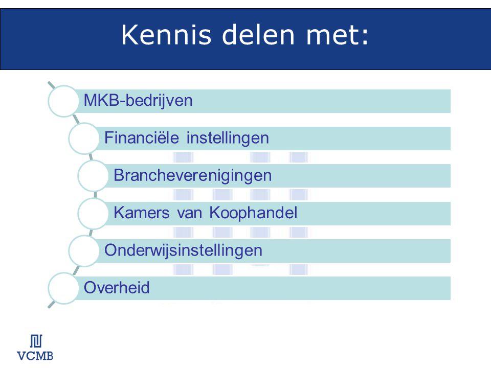 Kennis delen met: MKB-bedrijven Financiële instellingen Brancheverenigingen Kamers van Koophandel Onderwijsinstellingen Overheid
