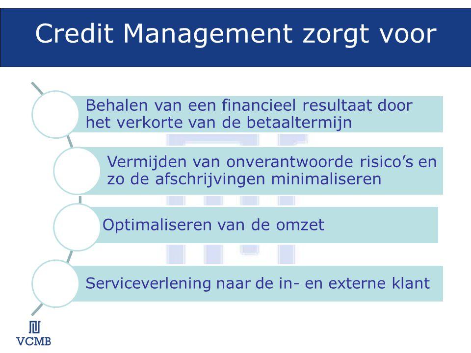 Credit Management zorgt voor Behalen van een financieel resultaat door het verkorte van de betaaltermijn Vermijden van onverantwoorde risico's en zo de afschrijvingen minimaliseren Optimaliseren van de omzet Serviceverlening naar de in- en externe klant