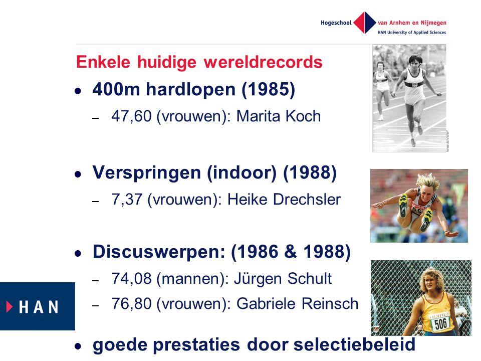 Enkele huidige wereldrecords  400m hardlopen (1985) – 47,60 (vrouwen): Marita Koch  Verspringen (indoor) (1988) – 7,37 (vrouwen): Heike Drechsler 