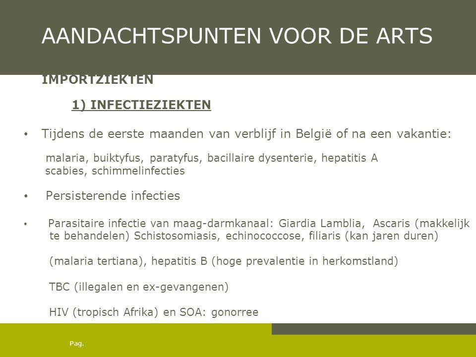 Pag. AANDACHTSPUNTEN VOOR DE ARTS IMPORTZIEKTEN 1) INFECTIEZIEKTEN • Tijdens de eerste maanden van verblijf in België of na een vakantie: malaria, bui