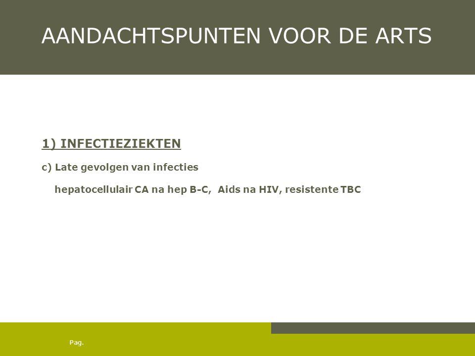 Pag. AANDACHTSPUNTEN VOOR DE ARTS 1) INFECTIEZIEKTEN c) Late gevolgen van infecties hepatocellulair CA na hep B-C, Aids na HIV, resistente TBC