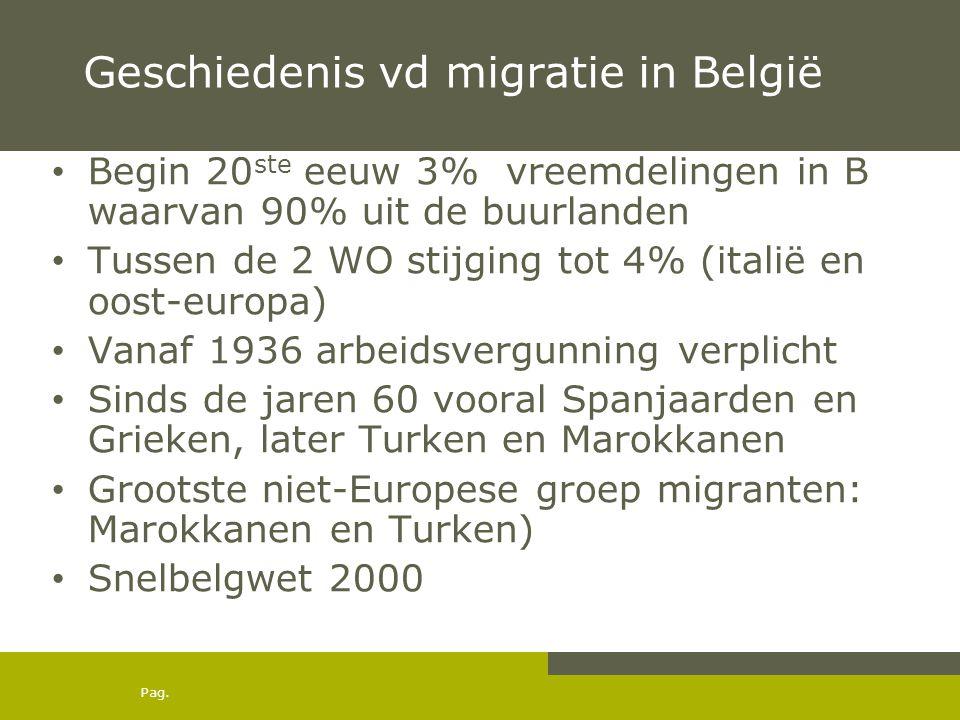Pag. Geschiedenis vd migratie in België • Begin 20 ste eeuw 3% vreemdelingen in B waarvan 90% uit de buurlanden • Tussen de 2 WO stijging tot 4% (ital
