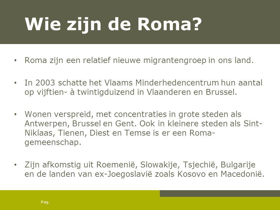 Pag. Wie zijn de Roma? • Roma zijn een relatief nieuwe migrantengroep in ons land. • In 2003 schatte het Vlaams Minderhedencentrum hun aantal op vijft