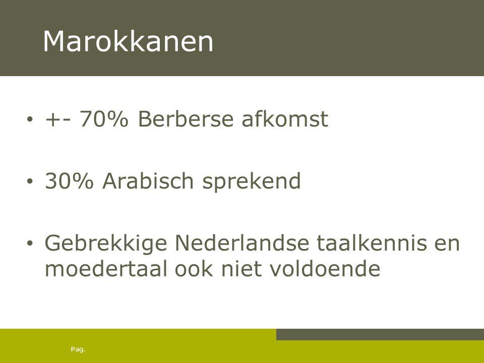 Pag. Marokkanen • +- 70% Berberse afkomst • 30% Arabisch sprekend • Gebrekkige Nederlandse taalkennis en moedertaal ook niet voldoende