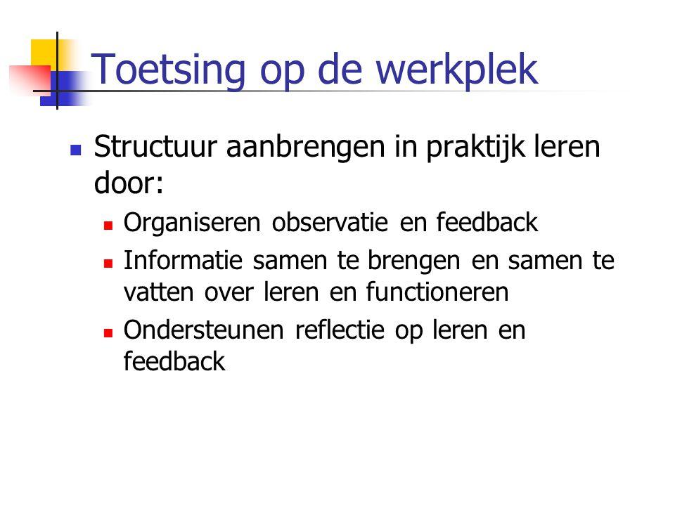 Toetsing op de werkplek  Structuur aanbrengen in praktijk leren door:  Organiseren observatie en feedback  Informatie samen te brengen en samen te