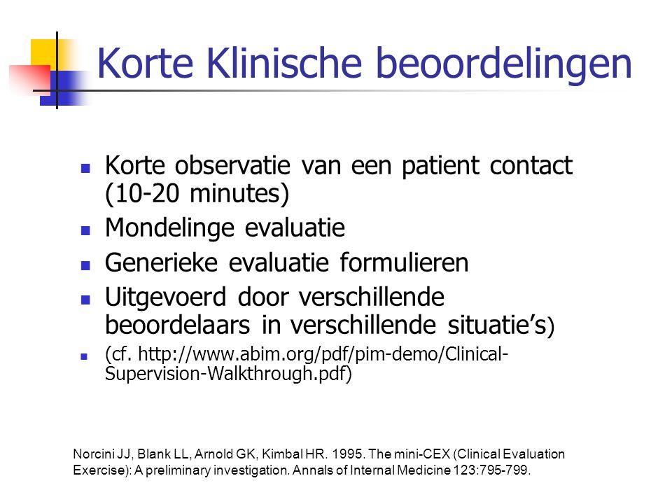 Korte Klinische beoordelingen  Korte observatie van een patient contact (10-20 minutes)  Mondelinge evaluatie  Generieke evaluatie formulieren  Ui